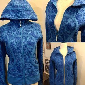 [Lululemon] Blue Paisley Print Scuba Zip Up Hoodie